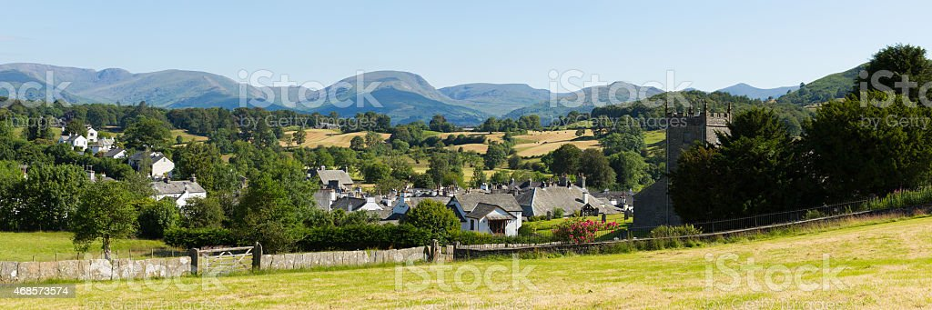 English Lake District Hawkshead village Cumbria UK panorama stock photo