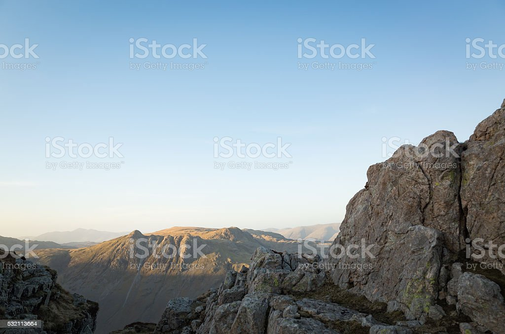 English Lake District: Langdale Pikes from Pike of Blisco stock photo