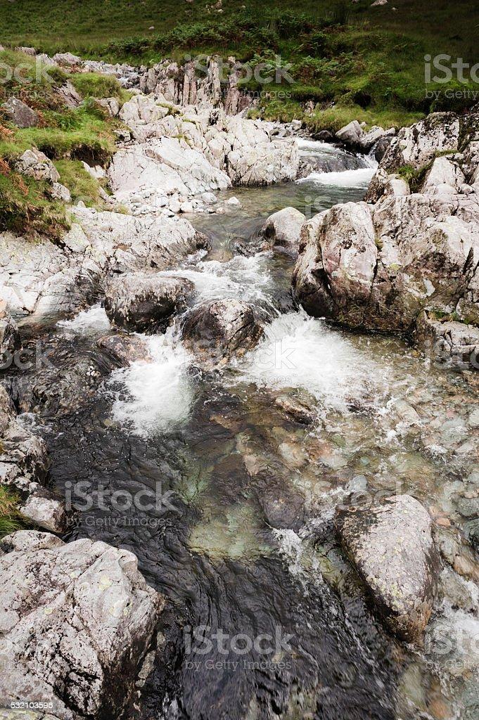 English Lake District: Lincove Beck waterfalls stock photo