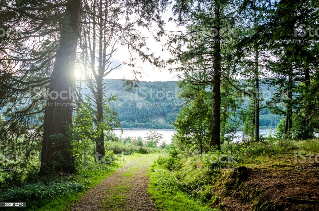 English lake district panorama background with copy space stock photo