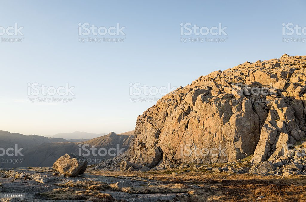 English Lake District: Pike of Blisco, Langdale Pikes at sunset stock photo
