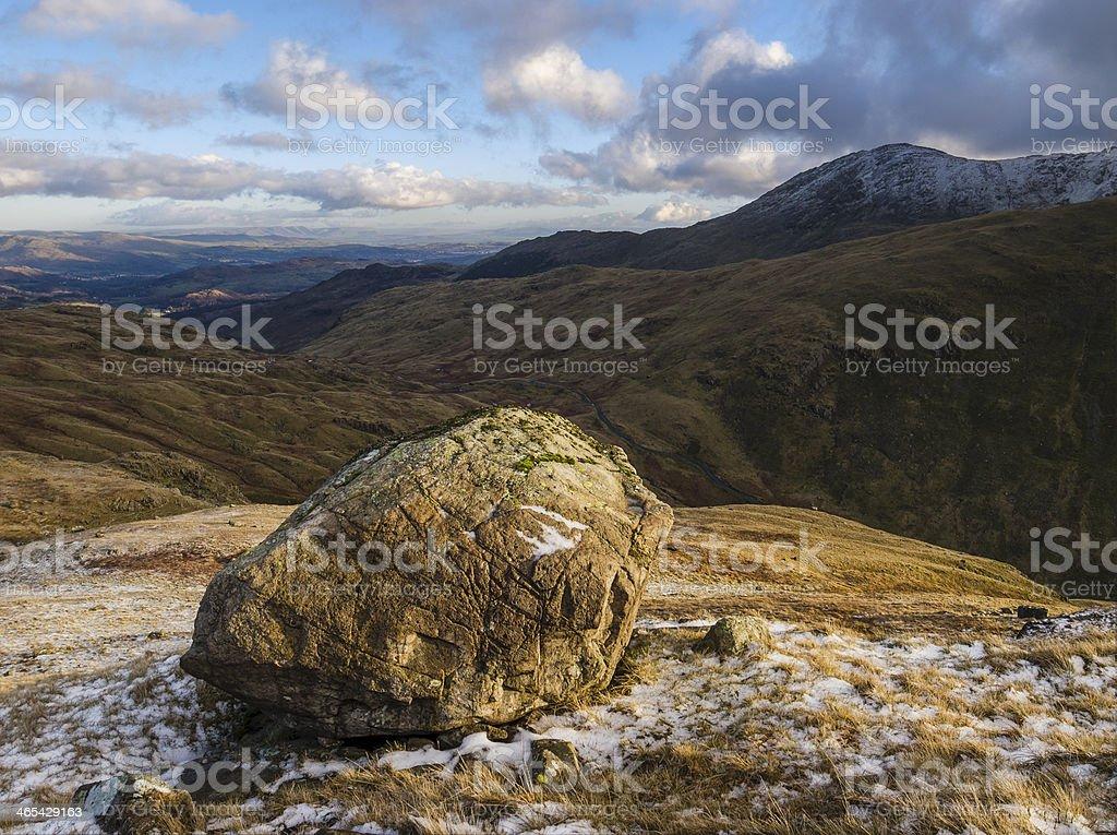 English Lake District: Rock above Wrynose Pass stock photo