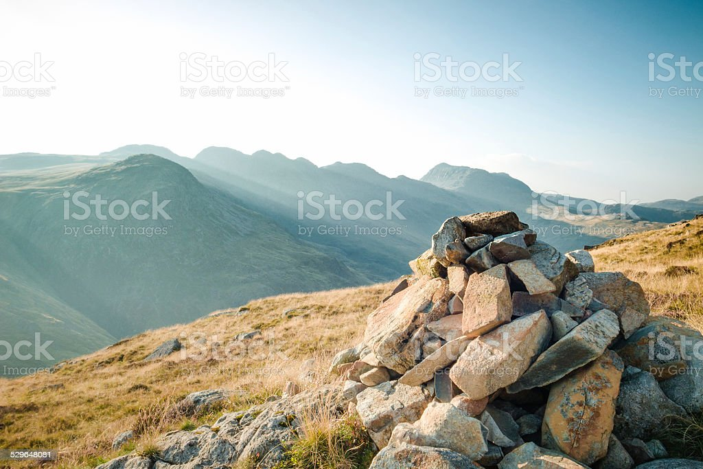 English Lake District: view of Crinkle Crags and Bowfell stock photo