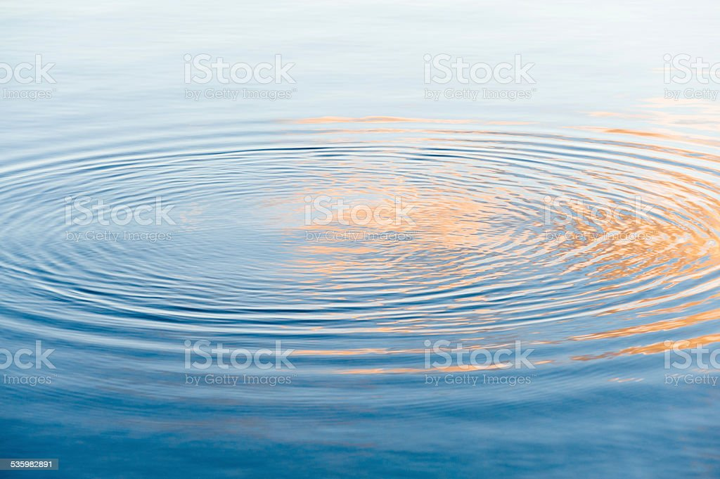English Lake District: water ripples at sunset on Lake Windermere stock photo