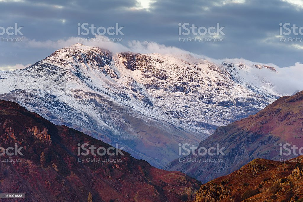 English Lake District: winter sunrise on Crinkle Crags stock photo