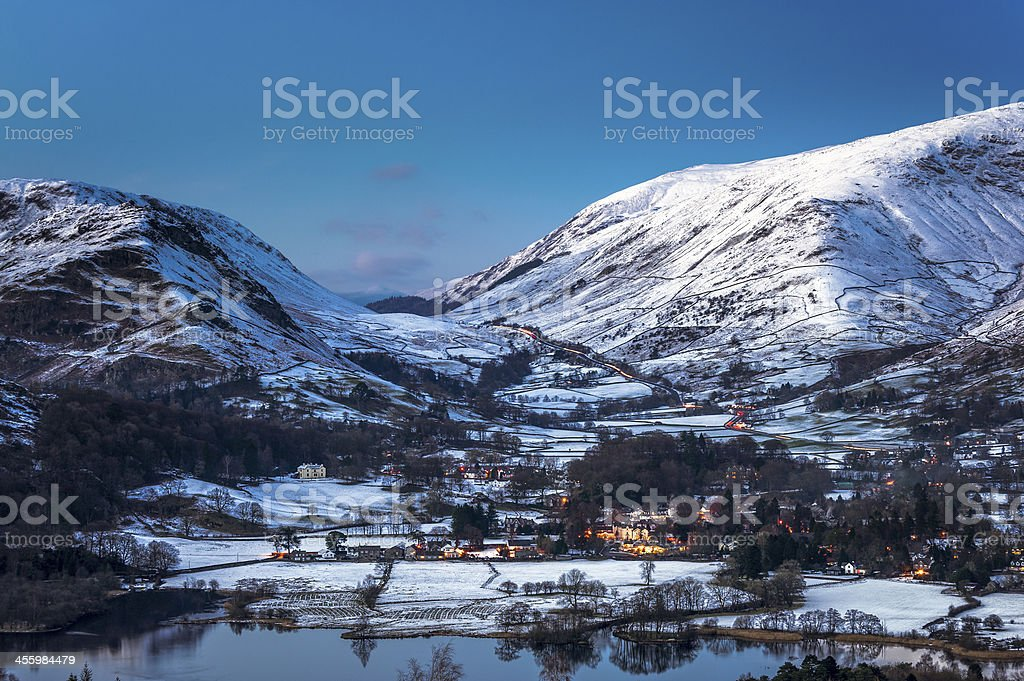 English Lake District: wintry Grasmere at dusk stock photo