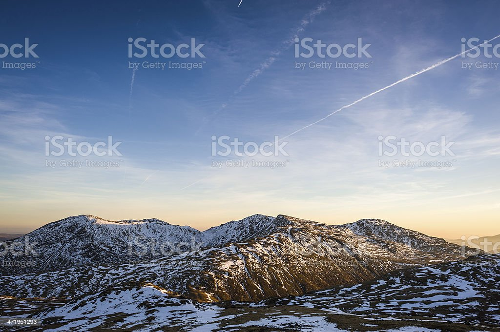 English Lake District: wintry skies over Wetherlam stock photo