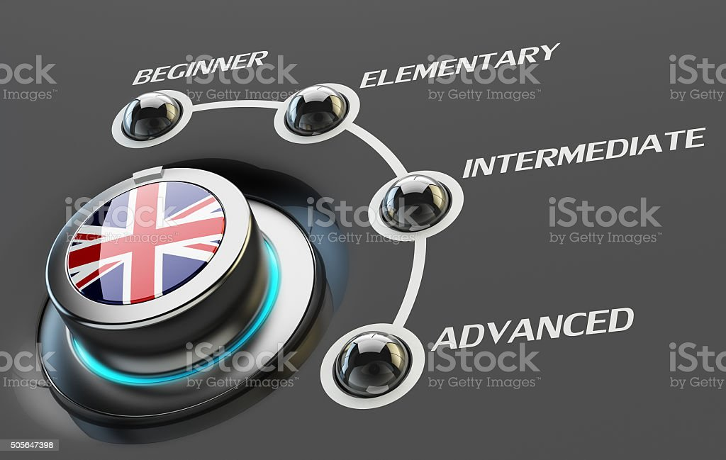 English language courses, learning and education concept stock photo