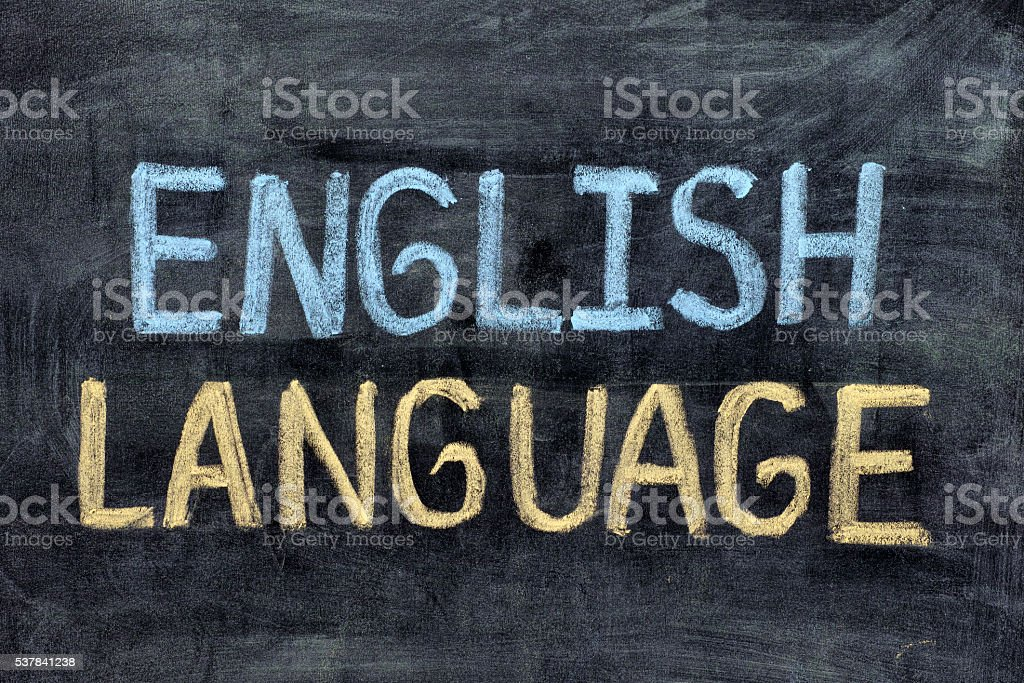 English language. English Language on blackboard stock photo