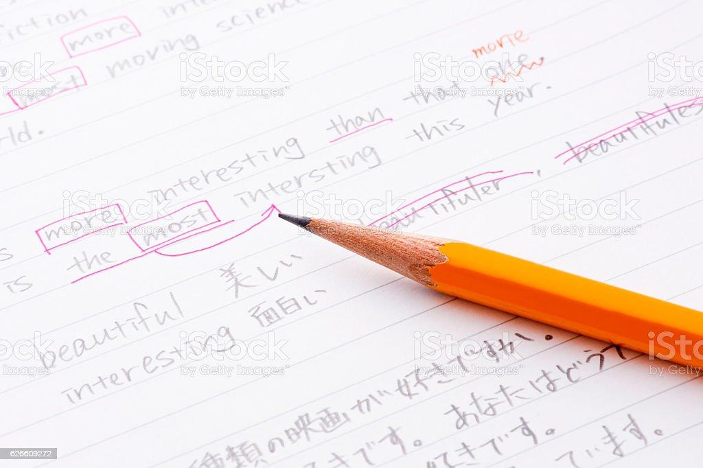 English language practice stock photo
