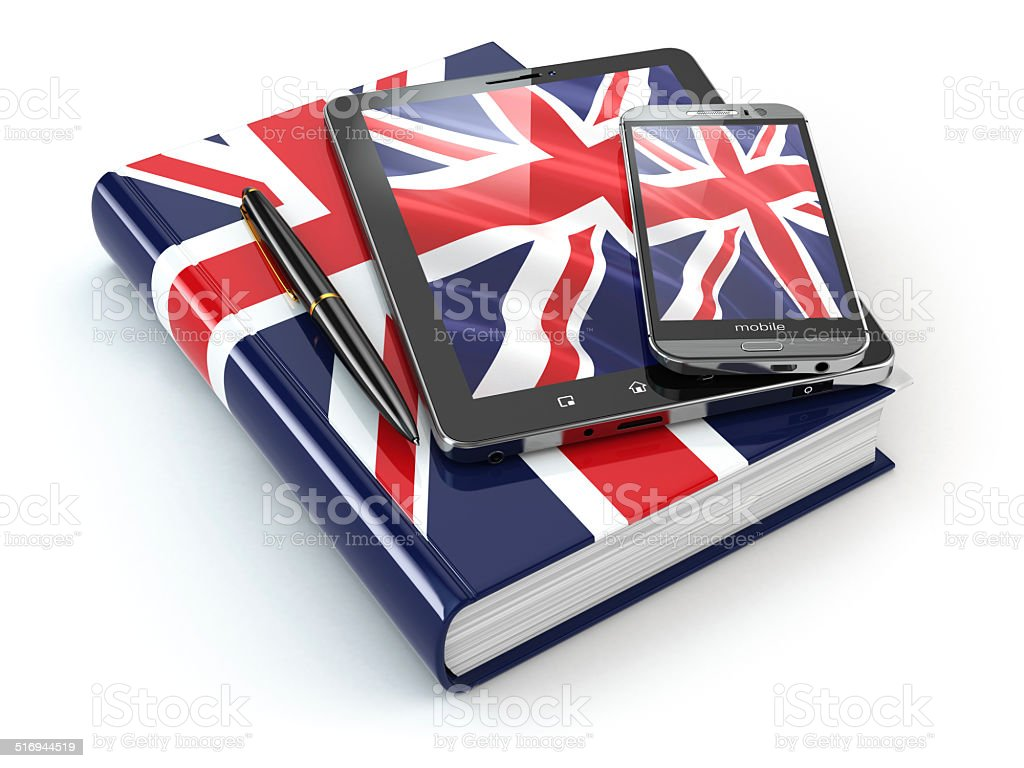 English learning. Mobile devices, smartphone, tablet pc and book stock photo