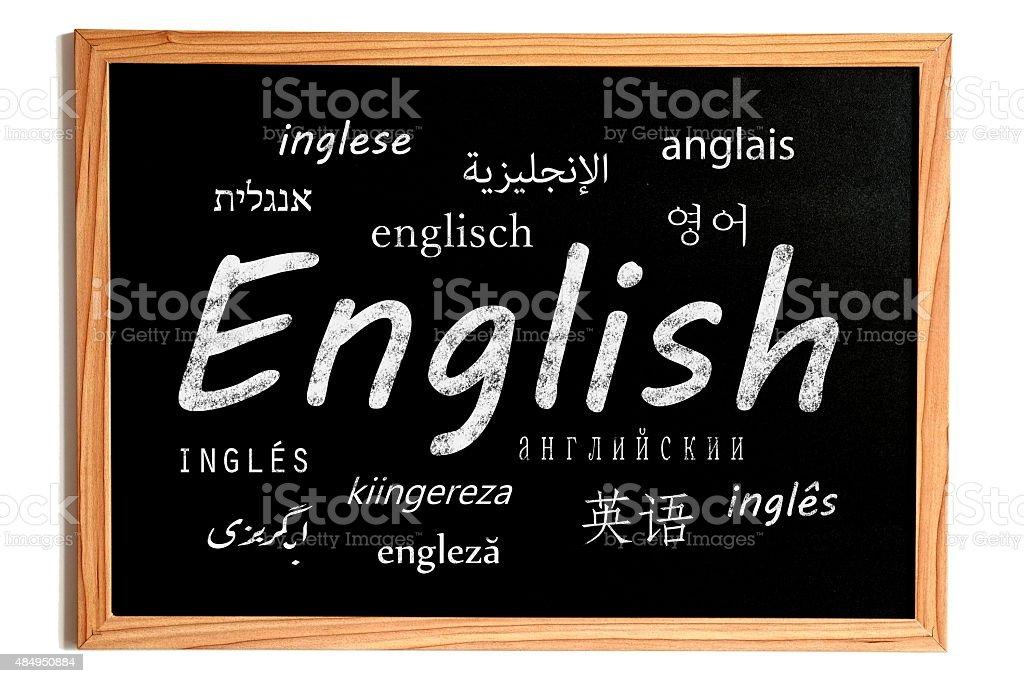 English Lesson Chalkboard stock photo