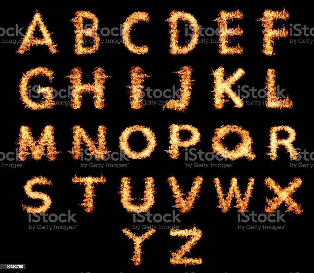 English letters Flames stock photo