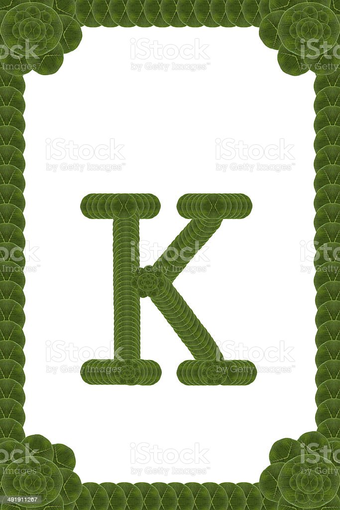 English letters form leaf stock photo