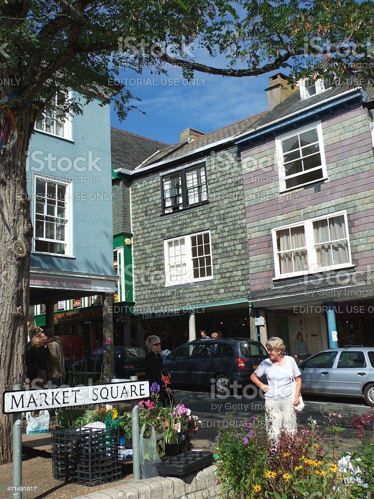 English Market Square Totnes Village Devon UK royalty-free stock photo
