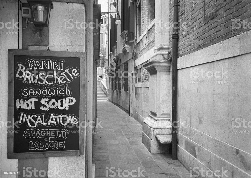 English menus in Venice's tourist restaurants and bars stock photo