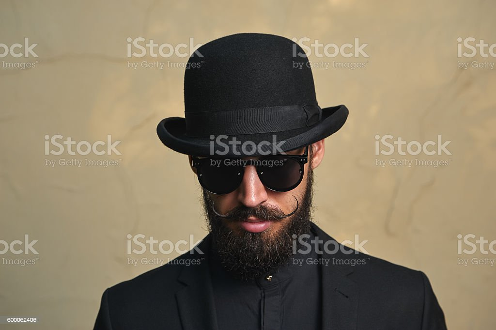 English modern Man with Bowler Hat stock photo