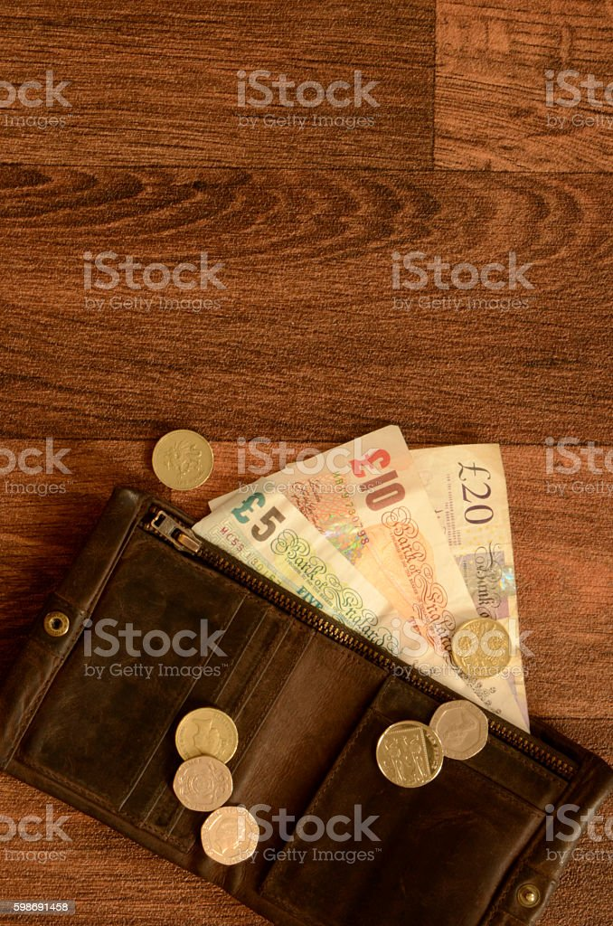 English Money in Brown Leather Wallet stock photo