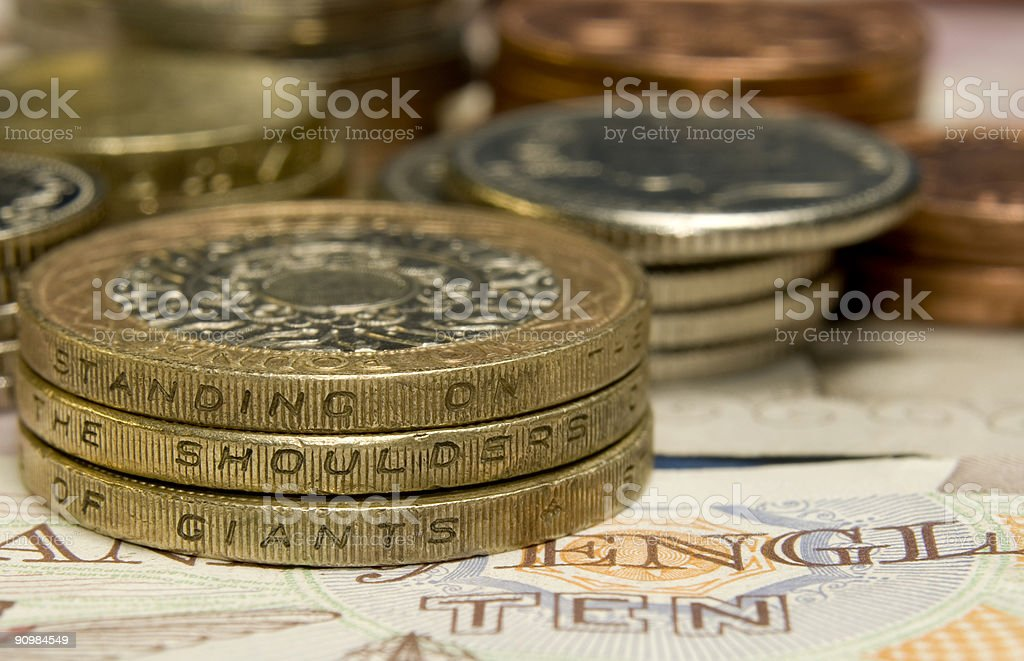 English Money, Standing on the Shoulders of Giants royalty-free stock photo