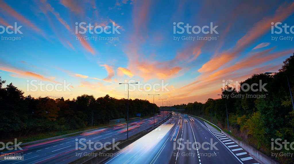 English Motorway At Sunset stock photo