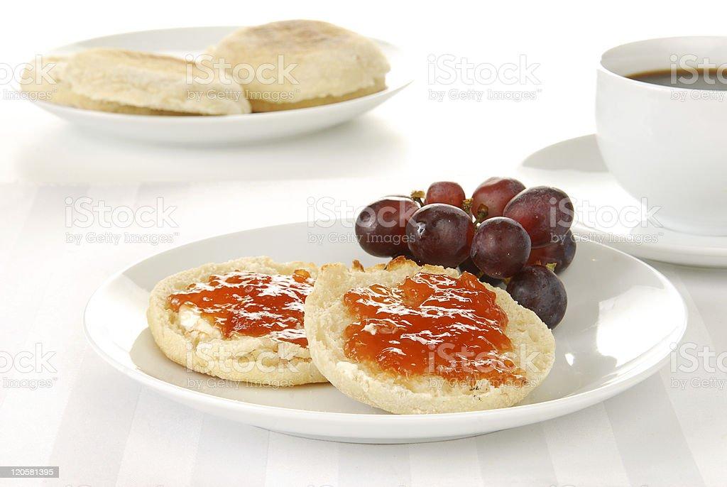 English muffin and coffee stock photo