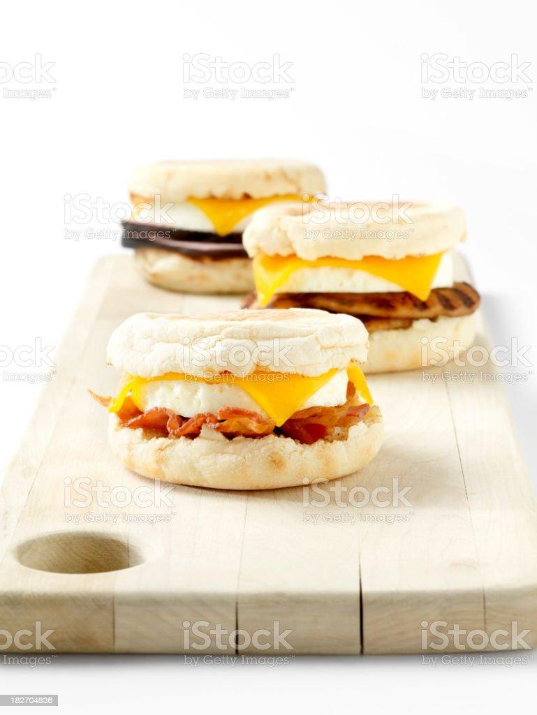 English Muffin Breakfast Sandwichs stock photo
