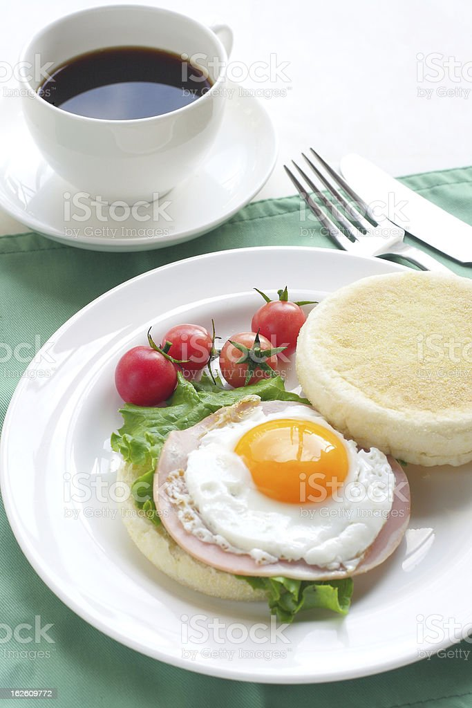 English Muffin with ham and fried egg royalty-free stock photo