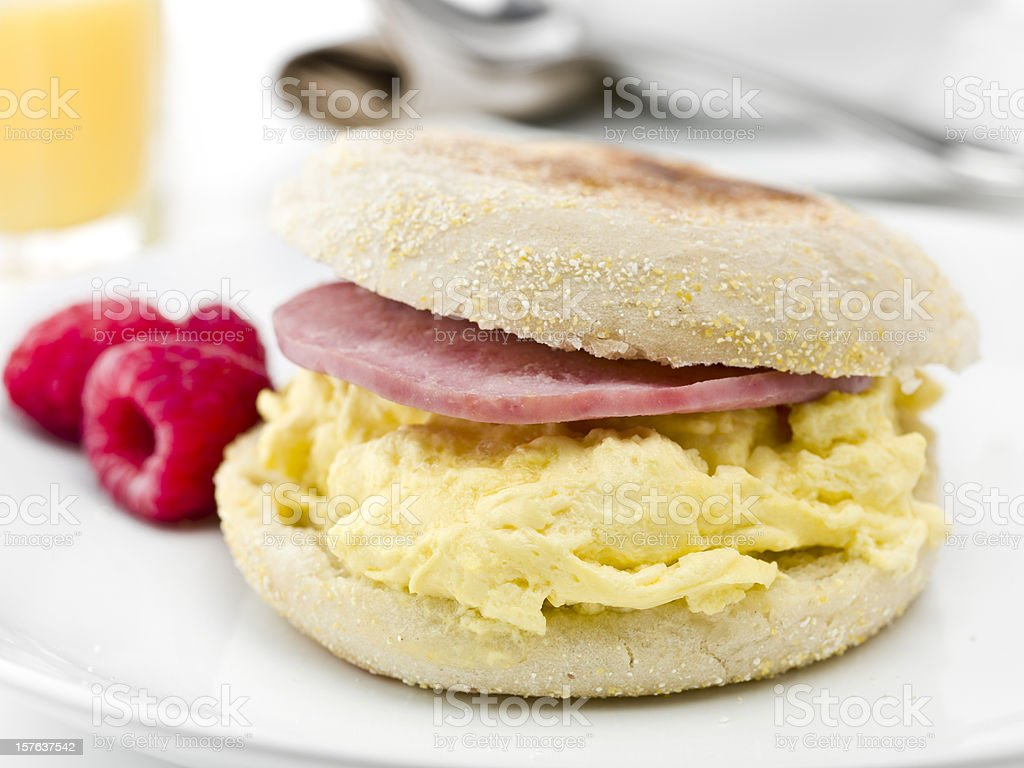 English Muffin with Scramble Eggs and Canadian Bacon stock photo