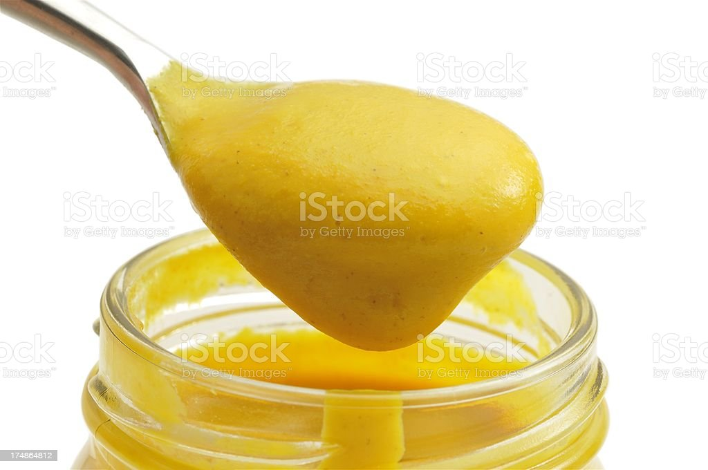 English(yellow) mustard serving stock photo