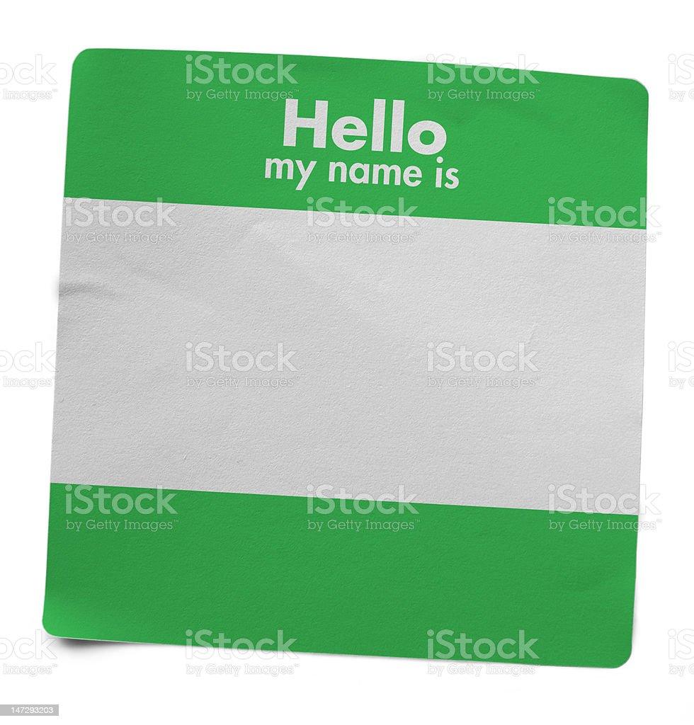 English name tag stock photo