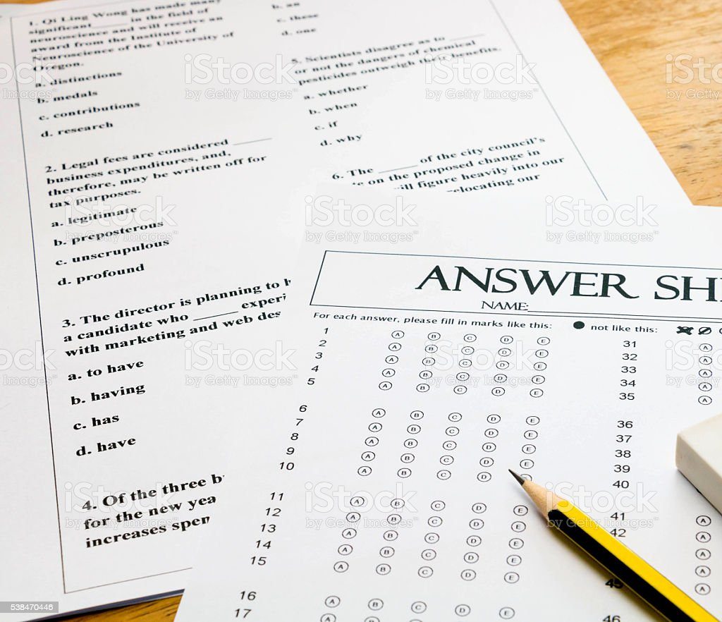 english question and answer sheet on table stock photo
