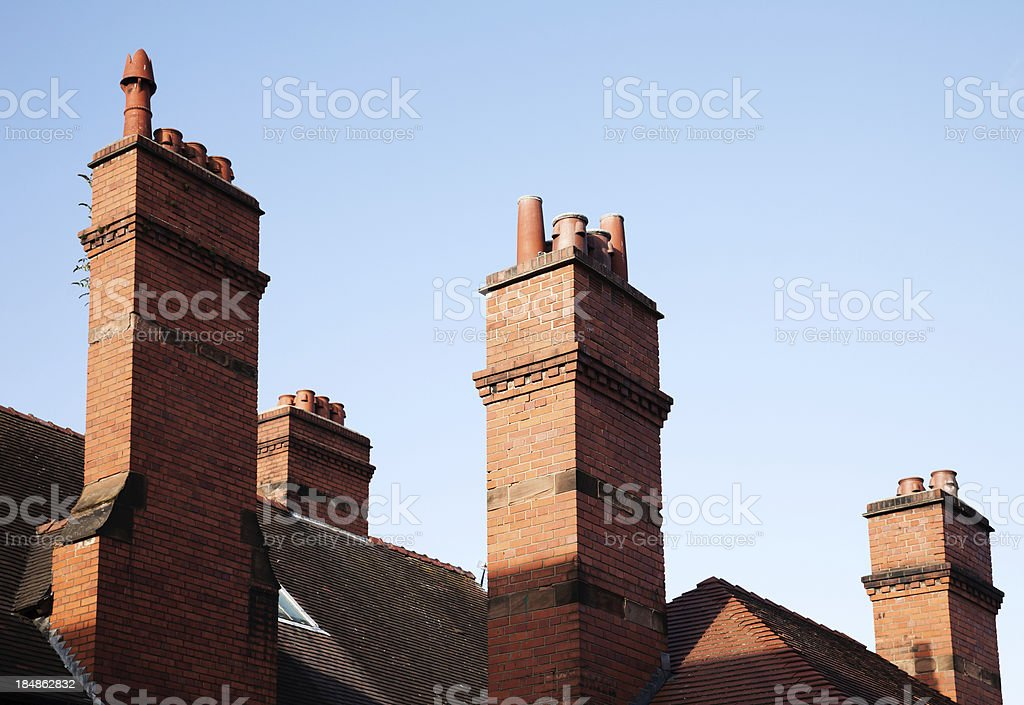 English Red Brick Chimneys Horizontal stock photo