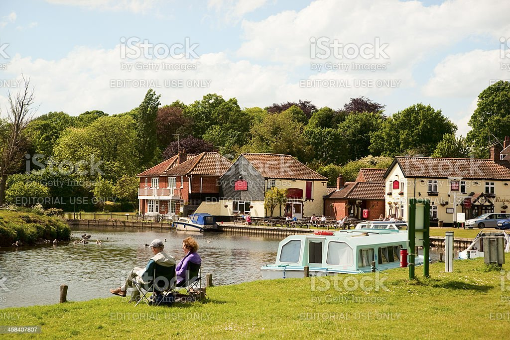 English river scene in summer on the Norfolk Broads stock photo