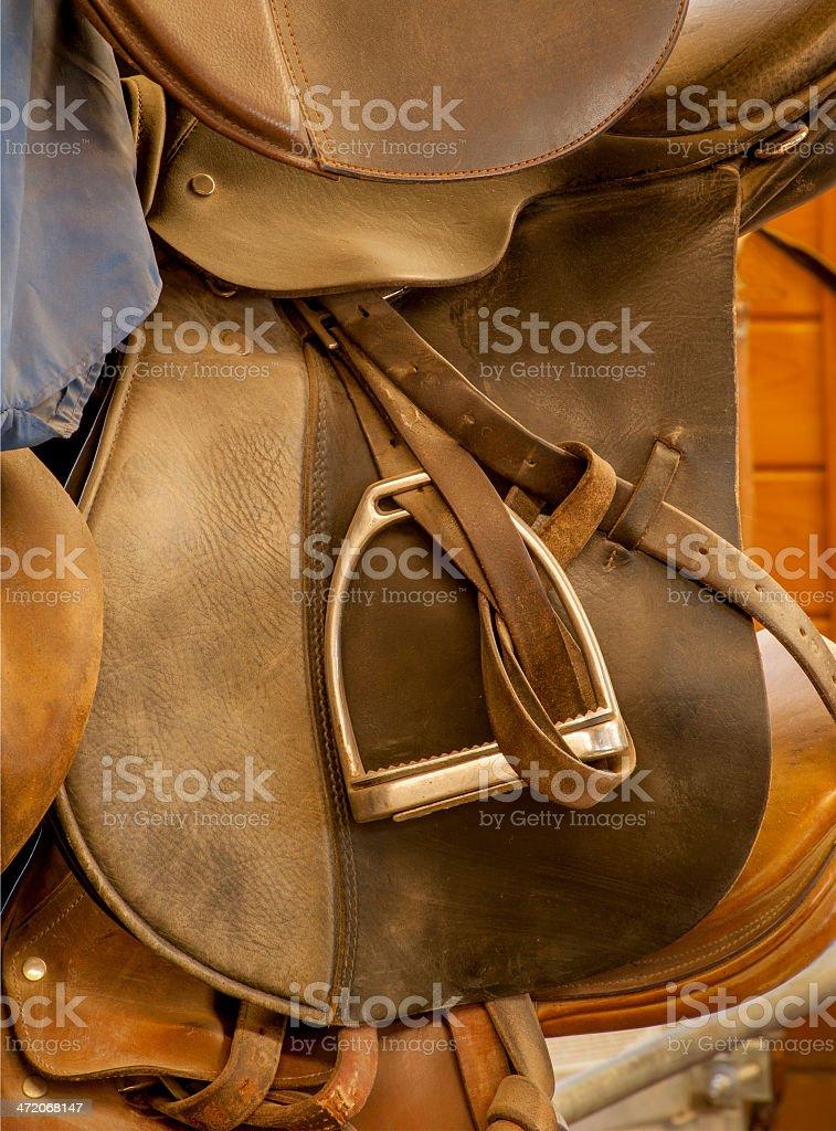 English Saddle and Stirrup stock photo