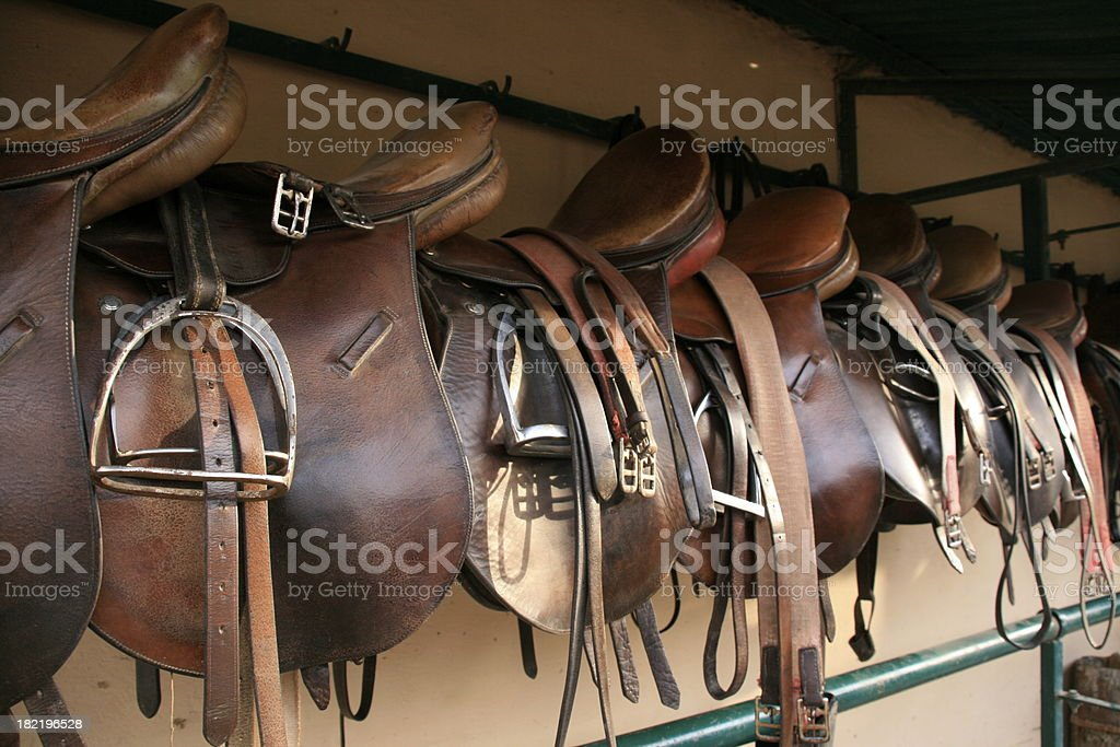 English saddles hung up at a polo field stables stock photo