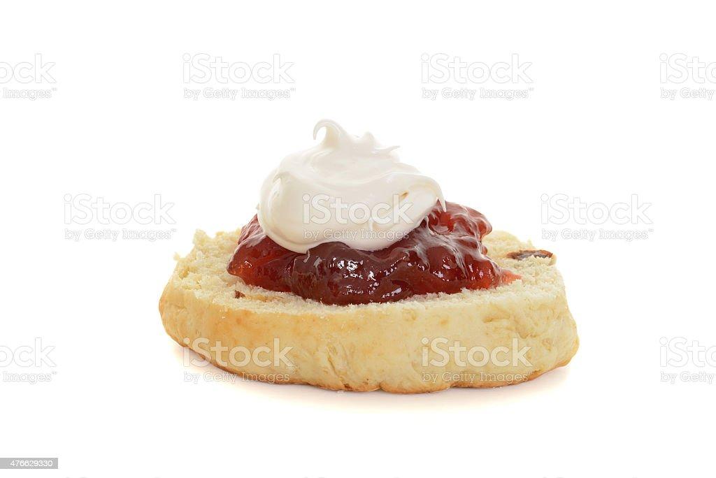 english scone with jam and cream stock photo