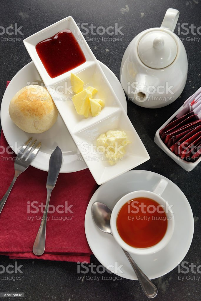 English scones with jam and butter serve whit tea stock photo