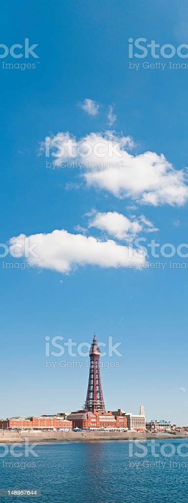 English seaside resort Blackpool tower banner stock photo