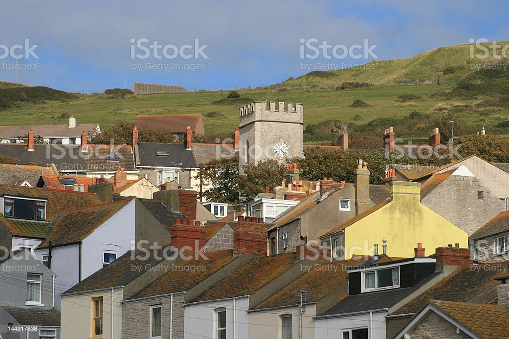 English seaside town rooftops and church royalty-free stock photo