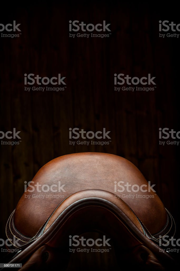 English Show Jumping Saddle in Tack Room - Front View stock photo
