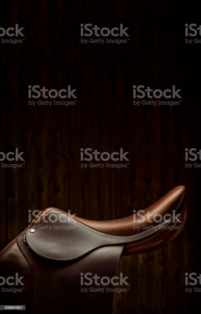 English Show Jumping Saddle in Tack Room - Side View stock photo