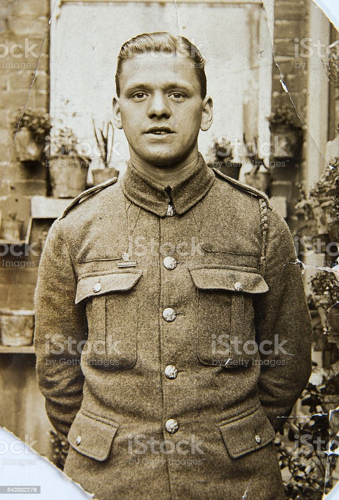 English soldier, portrait  of young man 1940th, vintage photo stock photo
