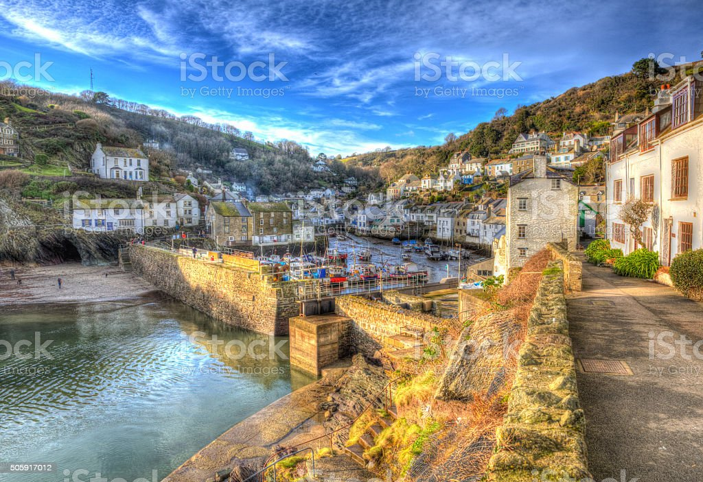 English south west coast fishing village Polperro Cornwall HDR stock photo