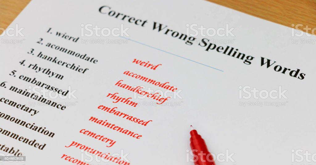 English spelling sheet stock photo