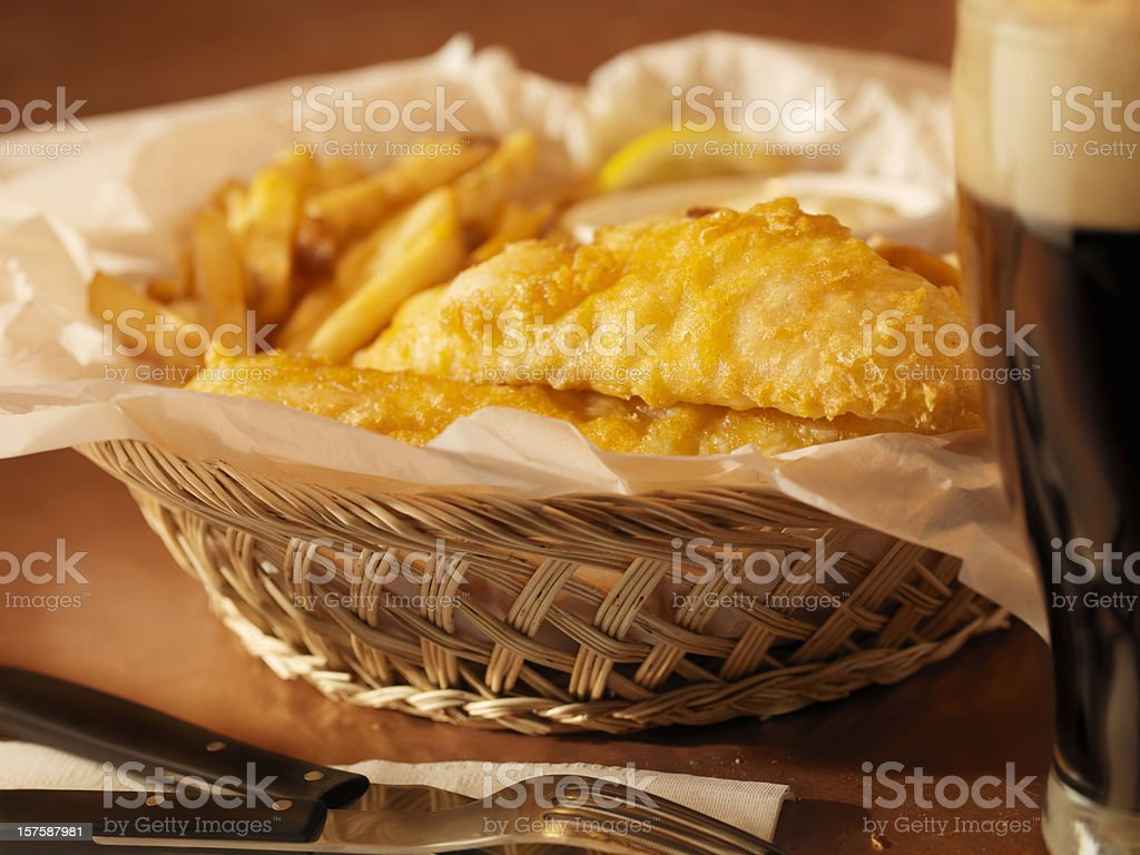 English Style Fish and Chips with a Pint of Stout stock photo