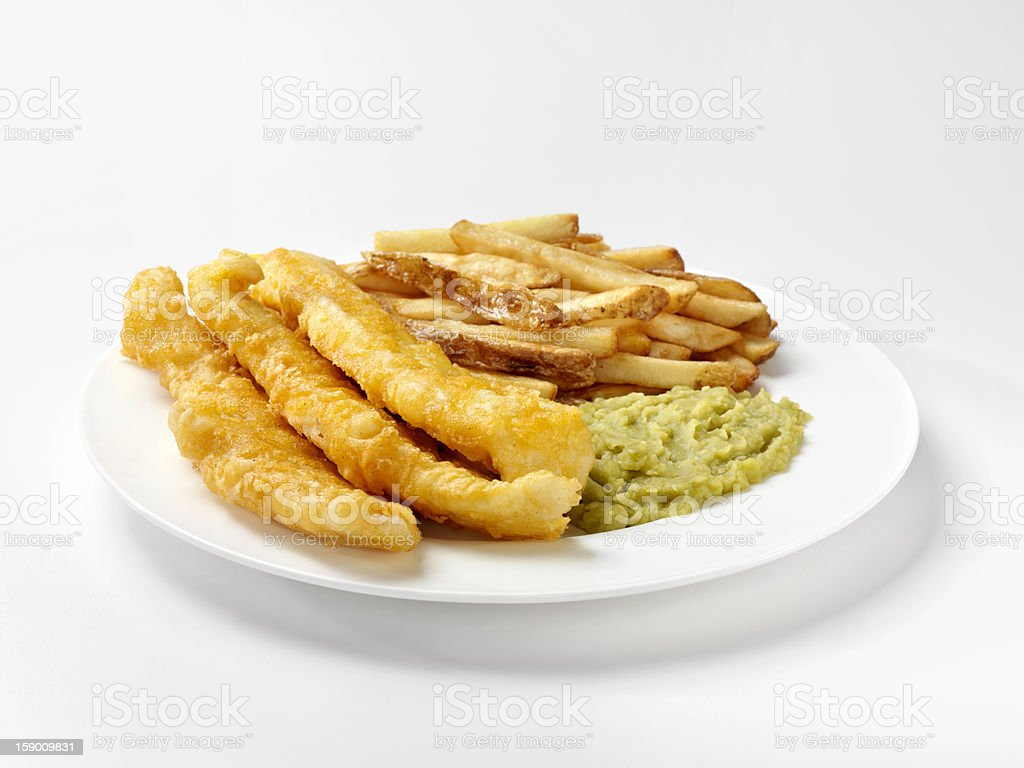 English Style Fish and Chips with Mushy Peas royalty-free stock photo