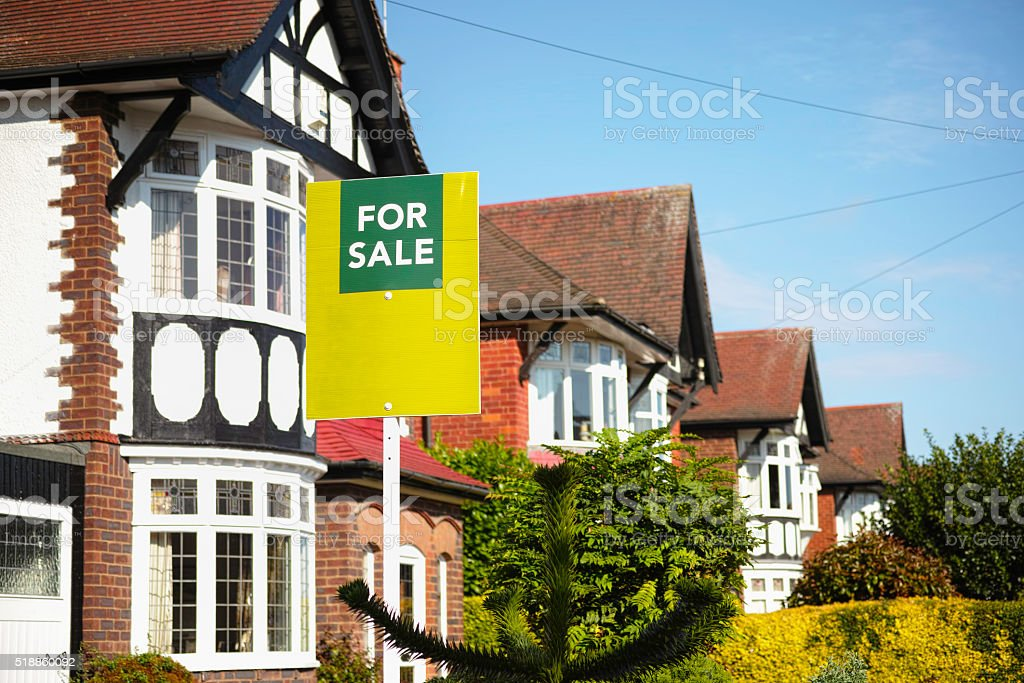 English suburban house for sale. stock photo