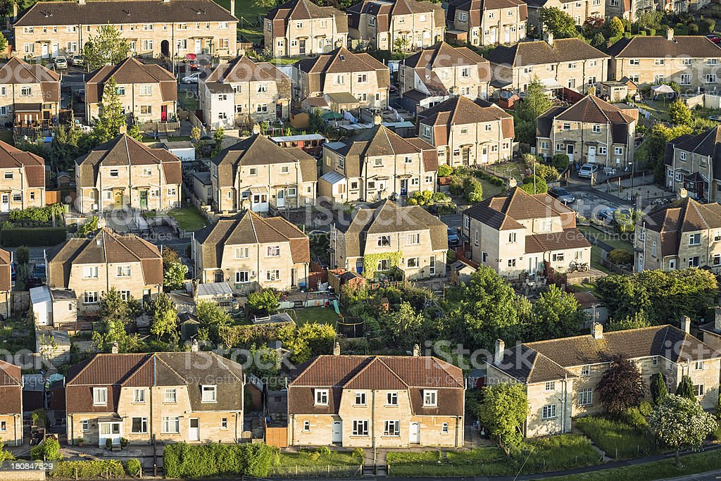 English Suburban Housing Estate From The Air stock photo