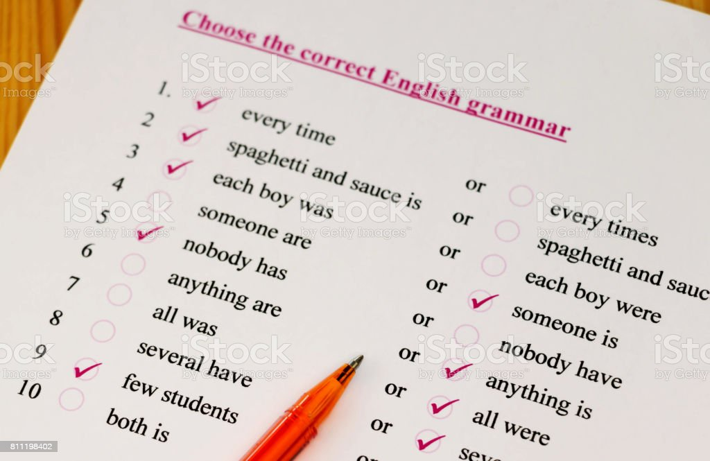 English test stock photo