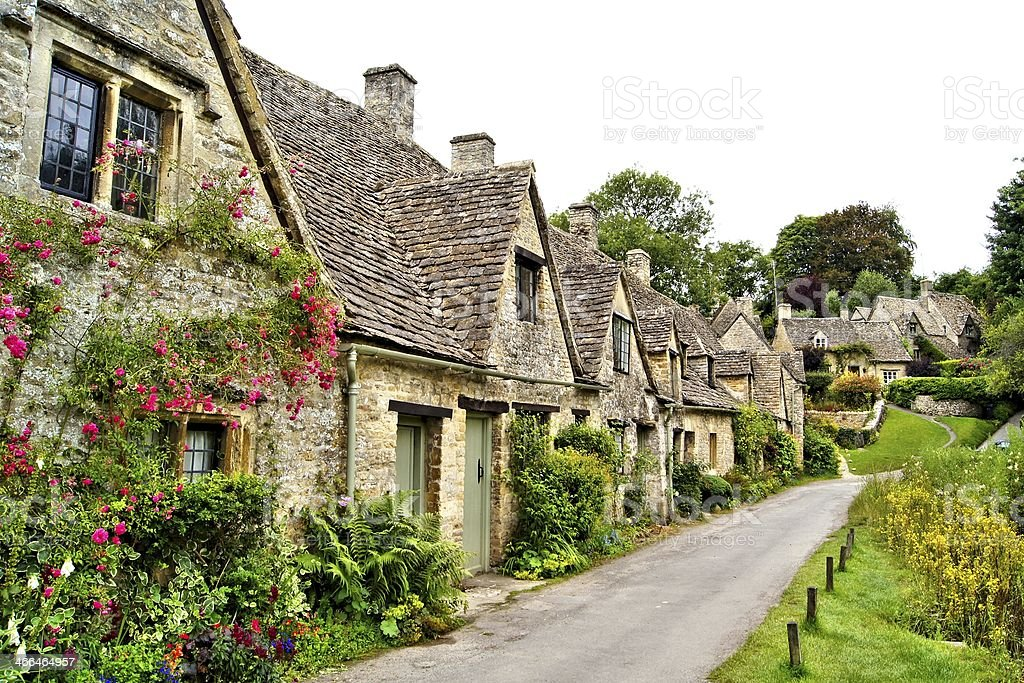 English town in the Cotswolds stock photo